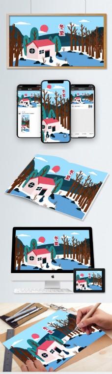二十四节气冬至剪纸风格在红房子湖边的猫