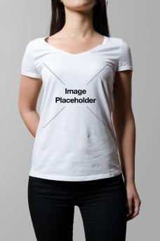 美女短袖t恤样机模板