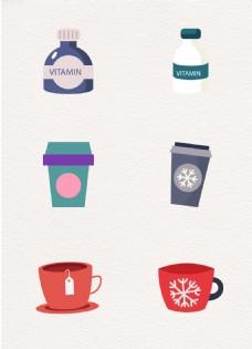 矢量饮料咖啡元素ai设计