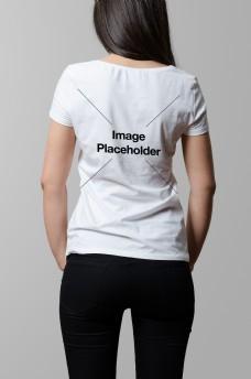 女士t恤背面样机模板