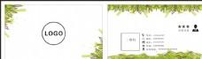 绿色 叶子 名片 模板