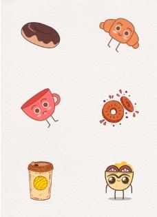卡通可爱下午茶甜点咖啡元素