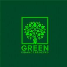 绿色树木树叶logo标志设计