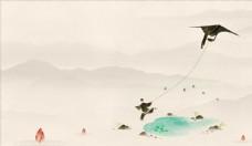 中式 放风筝 山禅 背景 水墨
