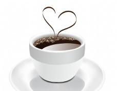 矢量白色茶杯心形咖啡元素