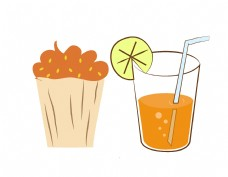 卡通果汁吸管元素