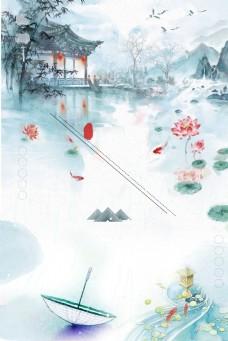 彩绘荷塘风景国画背景