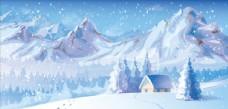 圣诞雪景插画