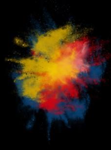 抽象彩色颜料泼墨黄红