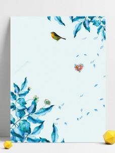 水彩花枝小鸟广告背景