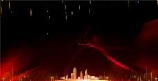 签到处红黑光效背景城市地产海报