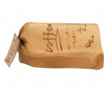 棕色的咖啡袋手绘插画