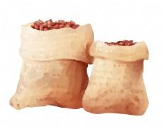 两袋咖啡袋手绘插画
