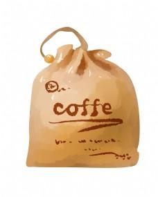 手提咖啡袋手绘插画