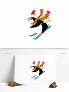 纸片风冬日开心滑雪的企鹅