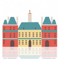 卡通手绘红房子元素