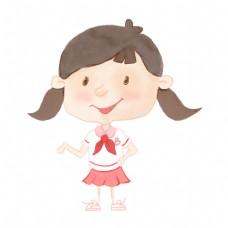 上学手绘小清新可爱小女生png