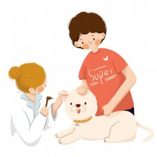 一个医生在给宠物小狗看病免抠图