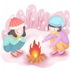 手绘冬天生火取暖的场景