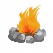 石头柴火堆手绘插画