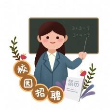 手绘校园招聘系列PNG素材