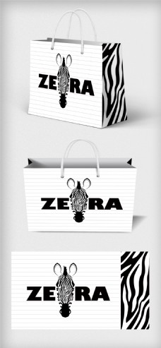 极简斑马背景购物手提袋包装设计