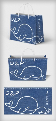 卡通背景购物手提袋包装设计