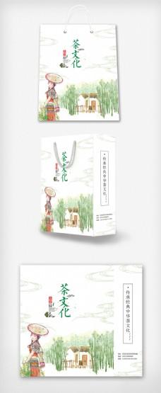 大气插画茶文化手提袋