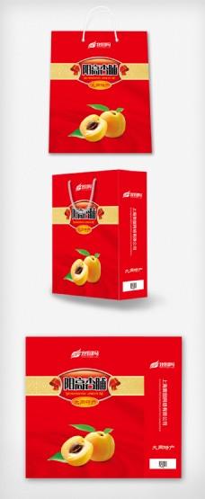 杏脯红色特产手提袋设计