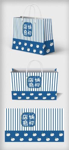 可爱动物背景店铺手提袋包装设计