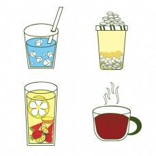 立体效果奶茶咖啡冰水冰块水果茶分层内容配料